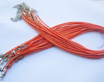 20pcs 18 inch Adjustable orange leather cord necklace cord with white K lobster clasp r006
