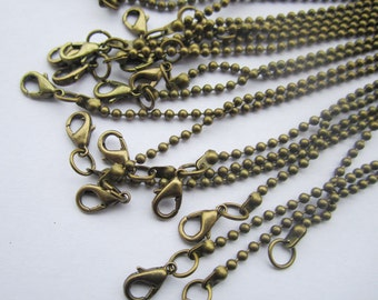 2.4mm 30pcs bronze ball chain necklace ball chain withe lobster clasp