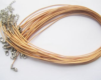 20pcs 18 inch Adjustable khaki leather cord necklace cord with white K lobster clasp r008