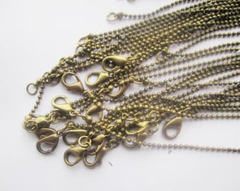 30pcs 1.5mm bronze ball chain necklace ball chain withe lobster clasp