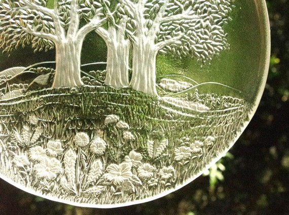 Vintage Glass Plate with Woodland Scene