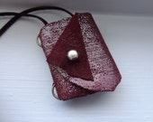 FREE SHIPPING art deco tuxedo leather journal necklace OOAK