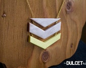 Pearl Pink and Yellow Chevron Triangle clay necklace