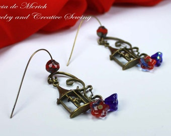 Circus birdcage earrings, blue and red