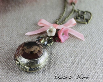 Mother Day  SALE - Antique Pocket Watch Necklace . Precious Time Series Black friday - Cyber monday .Romantic Valentine-Coupon code.