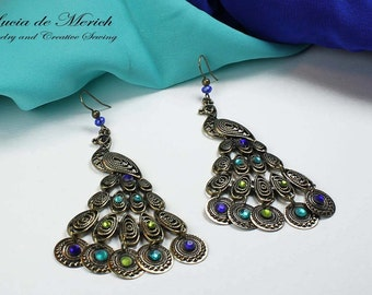 The beauty of the peacock tail earring- PEACOCK EARRINGS, shining blue and green.Black friday etsy, Cyber monday etsy -Coupon code.