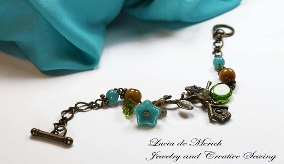 BIRDHOUSE  bracelet, vintage style nature- gift for her -coupon code. Cyber Monday-Black friday.