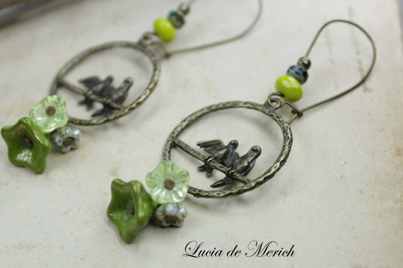Green birds earrings, vintage style, Unique gift for her under 20 USD, coupon code