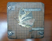 "Upcycled / Altered Beer Mat Steampunk Art Miniature ""Mechanical Moth"" OOAK"
