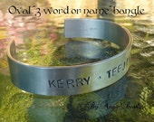 3 word or name Aluminium hand stamped bangle/bracelet- made to order- by Angie Beadz