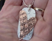 "Etched mixed metal riveted heart necklace-rustic-16"" chain- aluminium copper-by Angie Beadz"