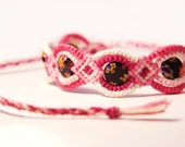 Pink Beaded Friendship Bracelet with Flat Millefiori Black Beads