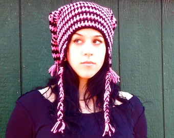SALE+ Pink and Black double pointed pixie punk beanie