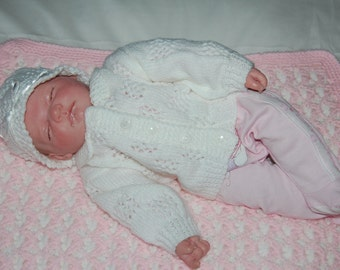 """0-3mth """"New Baby"""" First Cardigan and Matching Hat"""
