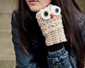 Handmade cute fingerless owl gloves