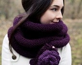 Knitted Infinity Scarf Plum Cowl