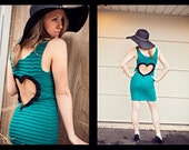 Heart Cut out Teal DRESS Size Small Upcycled Heart dress ready to ship