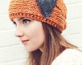 Tangerine Knitted Headband with gray felt heart