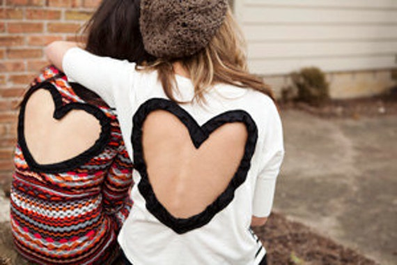 Heart Cut out Sweater (super wide cut out) Upcycled Heart Cardigan Sweater