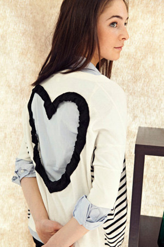 Heart Cut out Sweater  Upcycled Heart Sweater in Black/white  Back Cut Out Cardigan Sweater