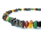 Men's Jewelry - rasta necklace for men - black shell and gemstone - Rastafari