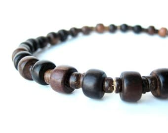 "Men's Jewelry - Wood bead men's necklace handmade from mabolo wood and coconut shell. ""Wooden Stutter"""