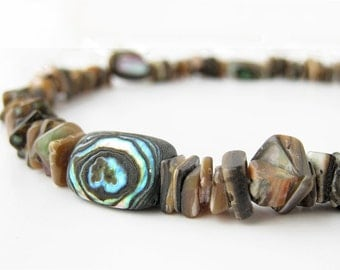 Surfer men's necklace - abalone shell necklace for men - Cliff Diver