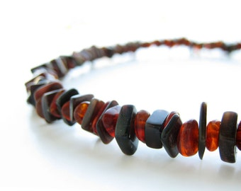 Men's necklace - black shell and dark amber necklace - Forest Ember