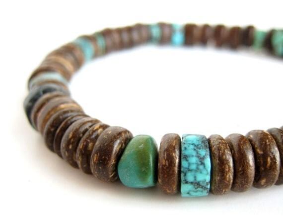 Tribal men's bracelet - wood bracelet for men - Tribal Turquoise