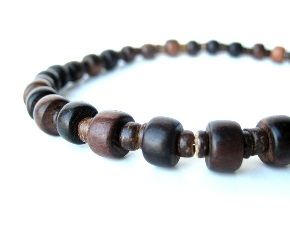 Men's Jewelry Wood bead men's necklace handmade from