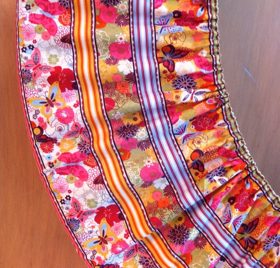Hula Hoop Hugger Storage Travel Bag Cover Flowers Stripes and Butterflies Summer Festival Accessory