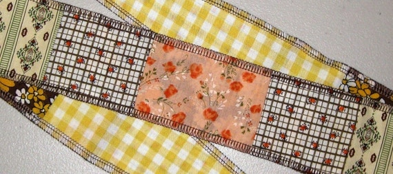 Hair Wrap Upcycled Patchwork Gypsy Hippie Tie Headband Reversible in Vintage Prints by flowercitythreads