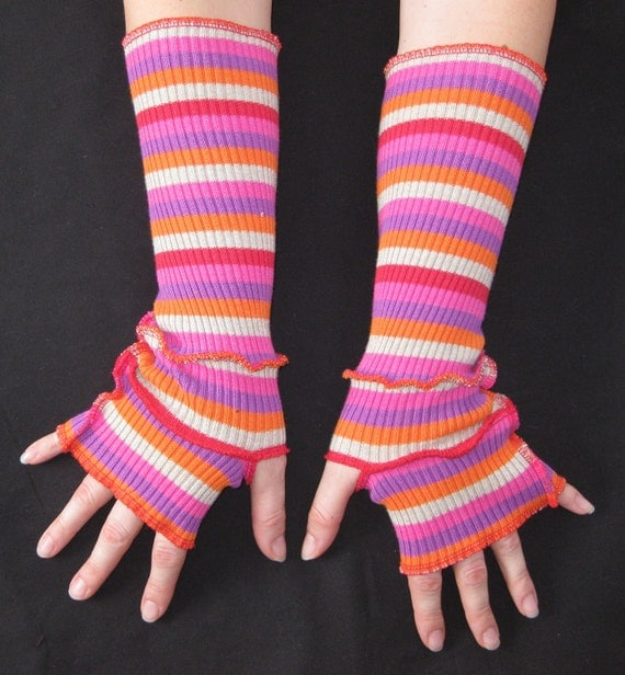 Fingerless Gloves Upcycled Hand Warmers Pink Orange Purple Red Beige Stripes Womens Accessories Size Medium / Large