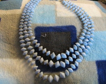 Light blue three strand vintage necklace