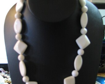 White vintage plastic beaded necklace