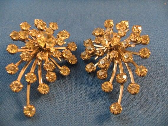 Wild pair of Tara rhinestone starburst clip earrings