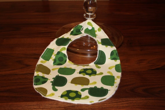 Turtle baby bib or drooler baby bib - Urban Zoologie Turtle fabric, minky or chenille backing