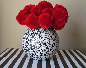 25 Large Red Yarn Pom Pom Flowers