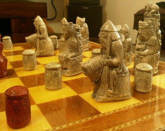 Gothic - Medieval Chess Set. Isle of Lewis Inspired with optional Vinyl Chess Board