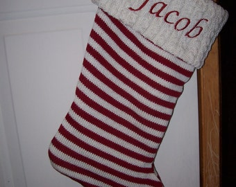 "Personalized 19"" Knit Christmas Stocking"