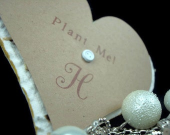 Personalized White Seed Paper Heart Wedding Favors - 3 inch - 50 count