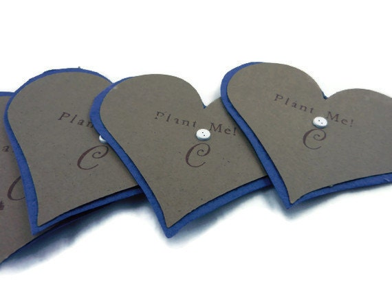 Personalized Navy Blue Seed Paper Heart Favors - 3 inch - 50 count