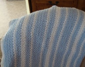 Blue and white baby boy  crochet afghan