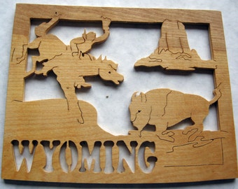 Wyoming State Shape Wood Cutout Sign Wall Art Detailed Design Decor