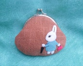 Coin purse - rabbit, felt, pale orange, cotton linen blend fabric,cotton