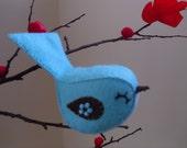 Bird decoration, bird ornament, bright blue, felt