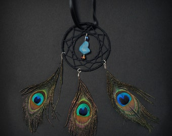 Dream Catcher with Three Feather Peacock Car Dash Rear View Mirror