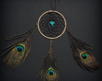 Tri Peacock Feather Turquoise Brown Small Dream Catcher