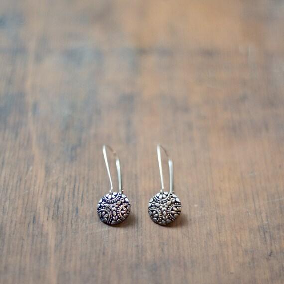 Sterling Silver Circular Design Drop Hook Earring