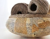 Rustic, Natural, Cottage Chic, Vintage Style Glass Bowl with Antique Book Pages